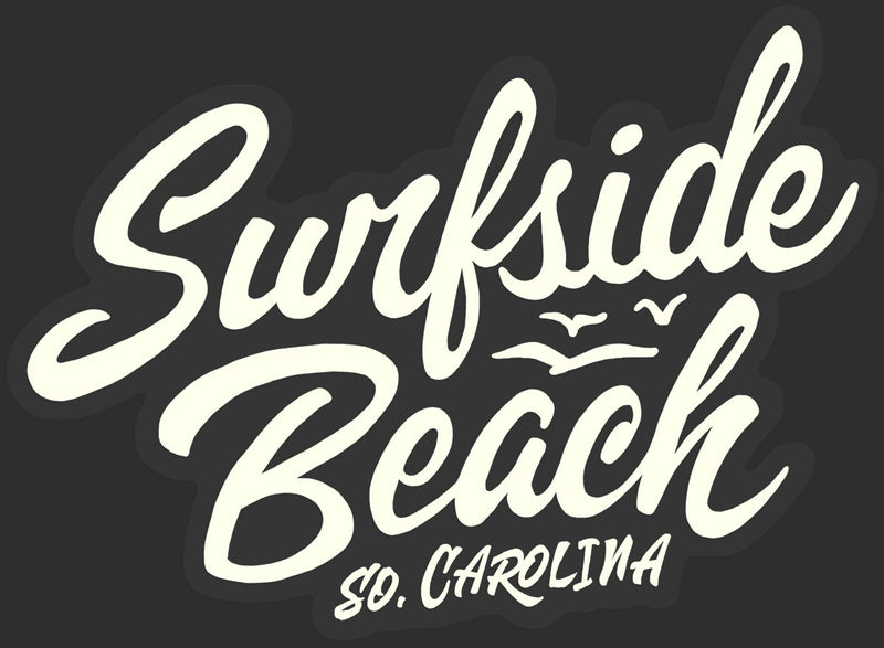 Surfside Beach, So. Carolina (Script) die cut sticker black