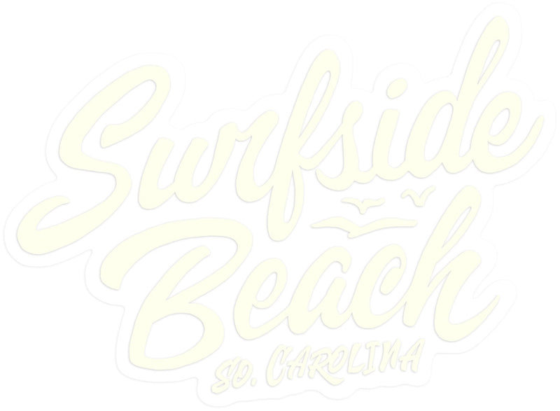 Surfside Beach, So. Carolina (Script) die cut sticker