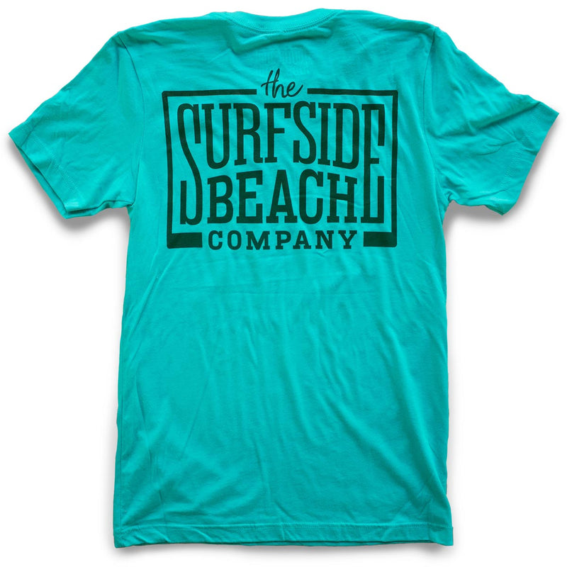 The Surfside Beach Company (logo) premium teal T-shirt back