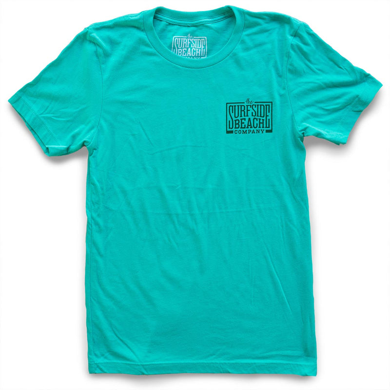 The Surfside Beach Company (logo) premium teal T-shirt front
