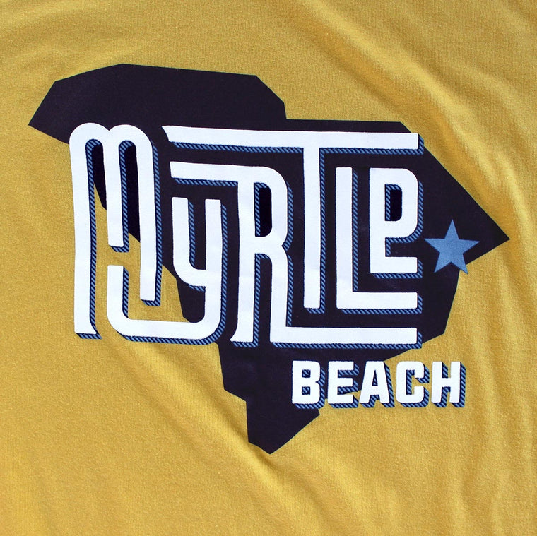 Myrtle Beach (State/Star) premium deep teal T-shirt sleeve