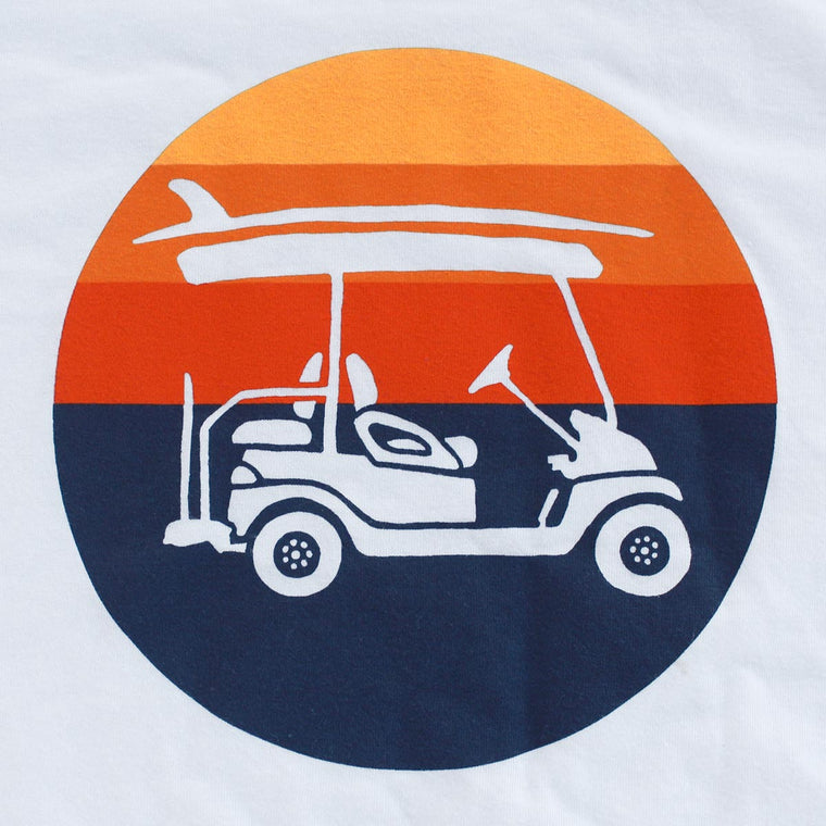 Surf Cart (Circle Sunset) Unisex T-Shirt