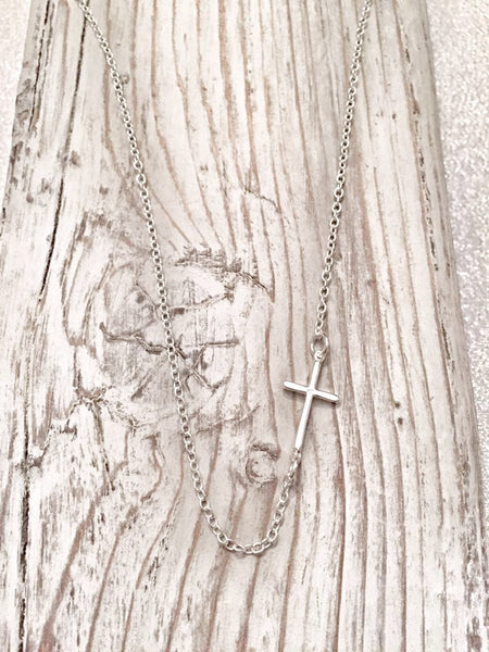 Sideways Cross Sterling Silver Necklace - Hand to Heart Jewelry