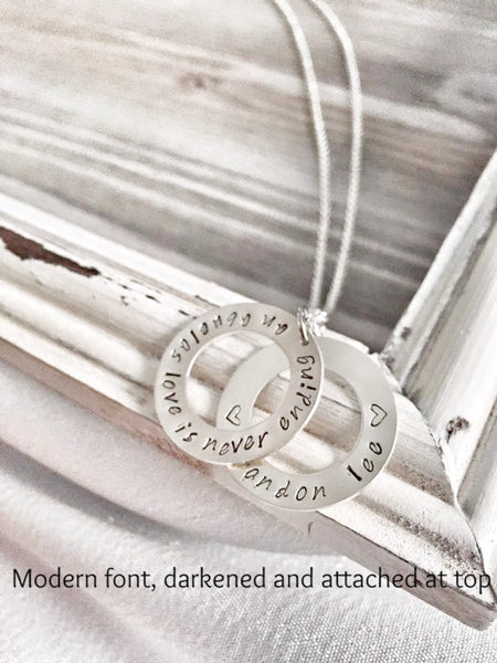 Sterling Silver Washer Necklace - Hand to Heart Jewelry