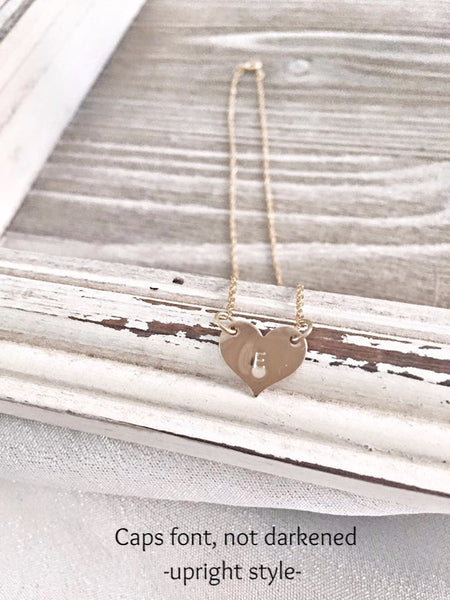 Sweetheart Necklace - Heart Necklace - 14K Yellow Gold Filled - Hand to Heart Jewelry