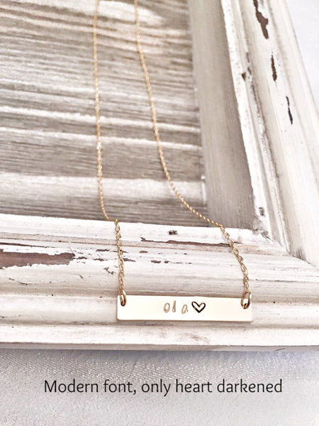 Bar Necklace  -Sterling silver - 14K filled yellow gold - 14K filled rose gold - Hand to Heart Jewelry