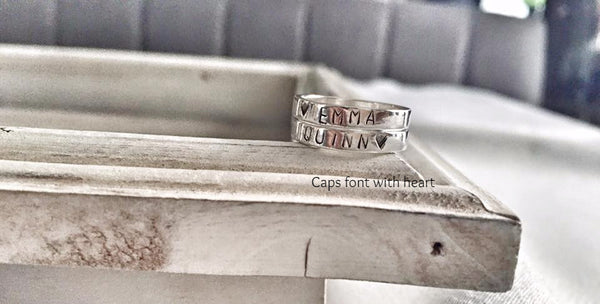 Sterling Silver Rings - Hand Stamped - Hand to Heart Jewelry