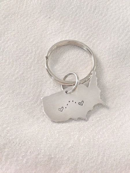 United States - American Map Keychain - Long Distance Keychain - Hand to Heart Jewelry