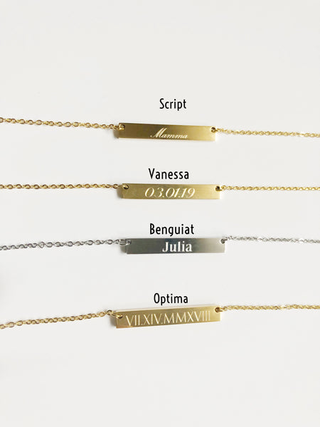 Stainless Steel Bar Necklaces - Hand to Heart Jewelry