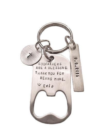 Godfathers / Godmothers are a Blessing - Bottle Opener Keychain - Hand to Heart Jewelry