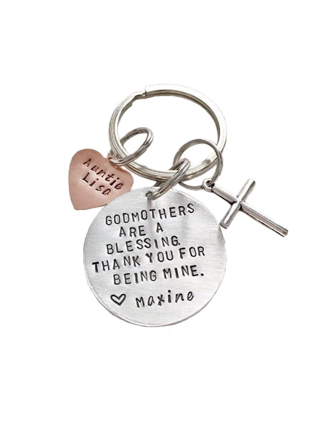 Godmothers / Godfathers are a Blessing - Round Keychain - Hand to Heart Jewelry