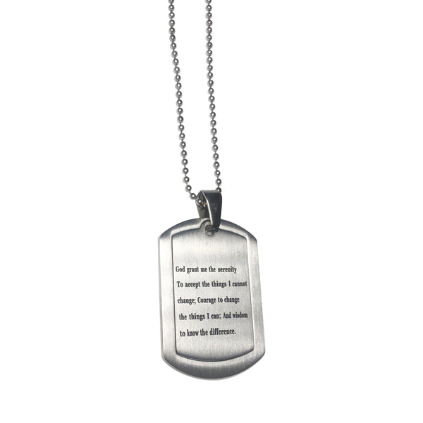 Christian Serenity Prayer Dogtag Necklace - Hand to Heart Jewelry