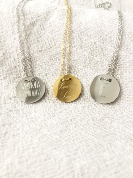 Stainless Steel Disk Necklace