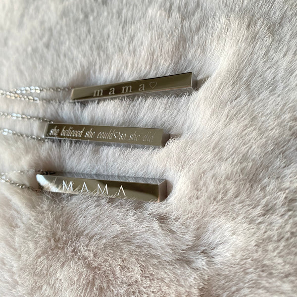 "Silver 30"" Long Bar Necklace"