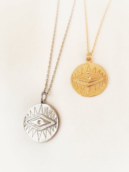 Evil Eye Disk Necklace - Hand to Heart Jewelry