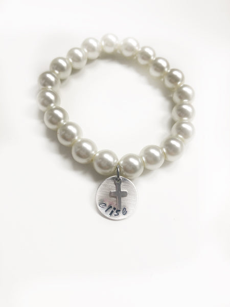 Pearl Stretch Bracelet with Cross - Hand to Heart Jewelry