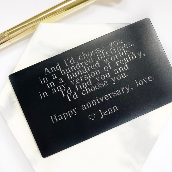 Wallet Card - Engraved - Hand to Heart Jewelry