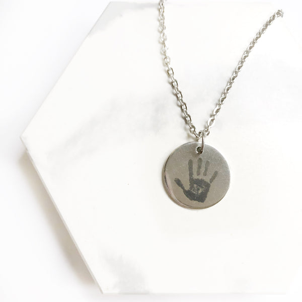Actual Handprint  / Footprint  / Handwriting Necklace - Hand to Heart Jewelry