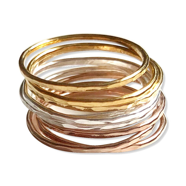 Thin Hammered Stacking Rings - Hand to Heart Jewelry