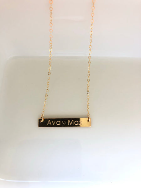 Everyday Bar Necklace - Machine Engraved - Precious Metals