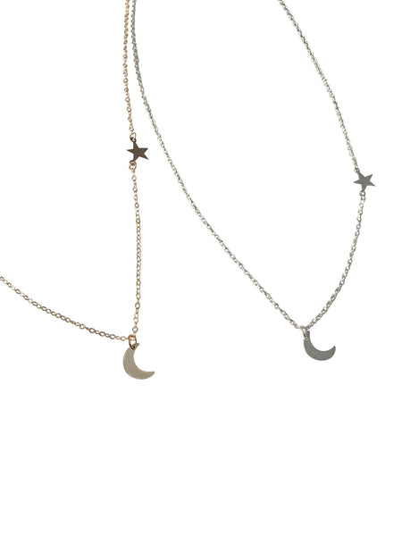 Moon & Stars Dainty Necklace - Hand to Heart Jewelry