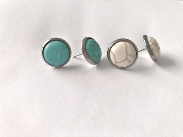 Turquoise Stone Earrings - Hand to Heart Jewelry