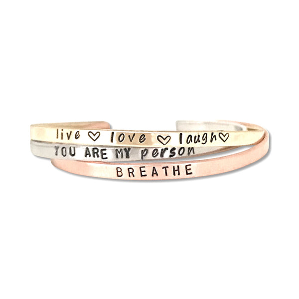 Trio of Mantra Bracelets {one silver, one gold, one rose gold} - Hand to Heart Jewelry