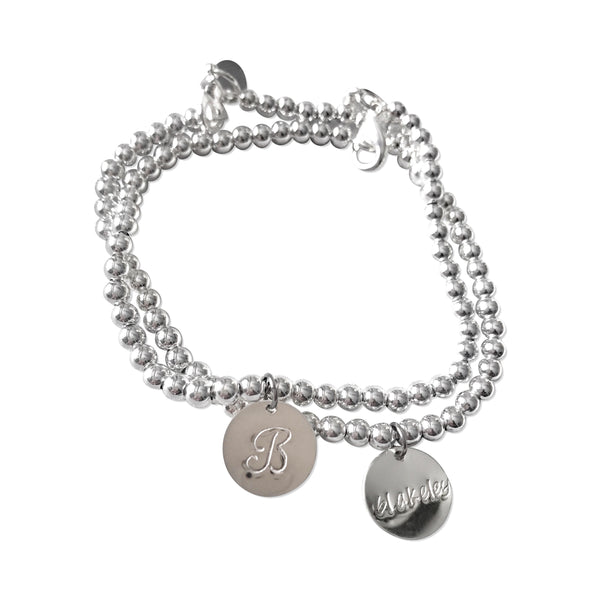 Sterling Silver Beaded & Chain Bracelets with Hand Stamped Disks - Hand to Heart Jewelry