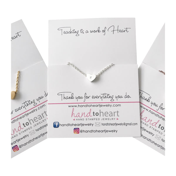 Teaching is a Work of Heart Necklace - Hand to Heart Jewelry