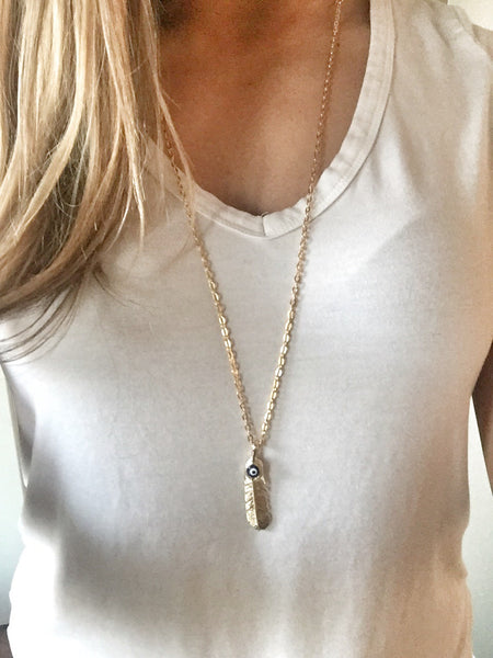 Long Evil Eye Feather Necklace - Hand to Heart Jewelry