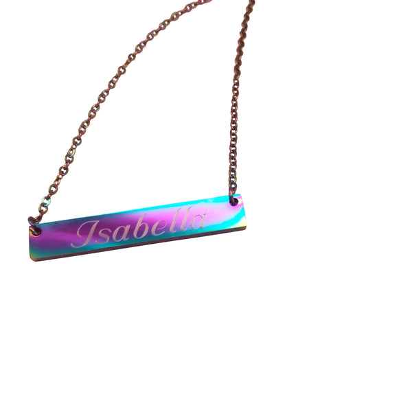 Rainbow Bar Necklace - Hand to Heart Jewelry