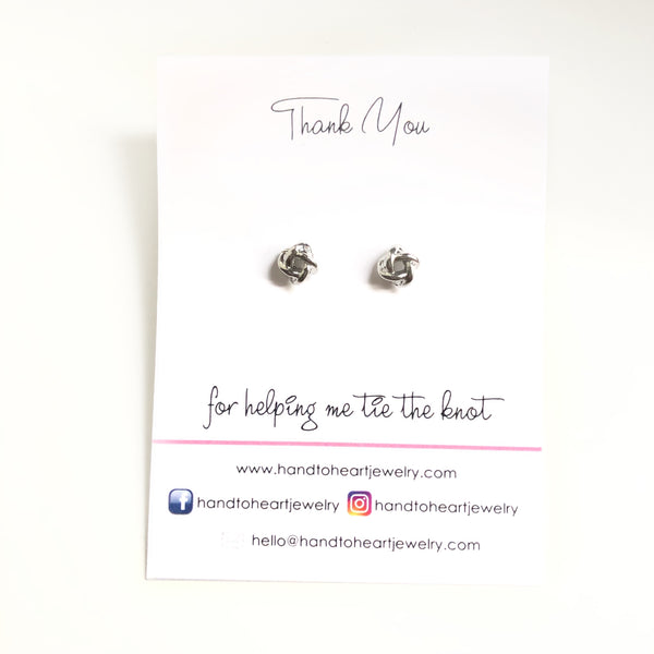 Tie the Knot Earrings - Bridal Party Gifts - Hand to Heart Jewelry
