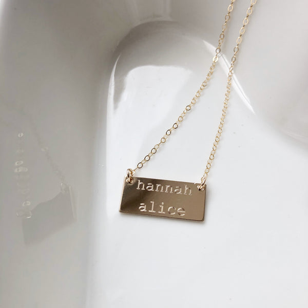 Double Width Bar Necklace - Machine Engraved- Precious Metals