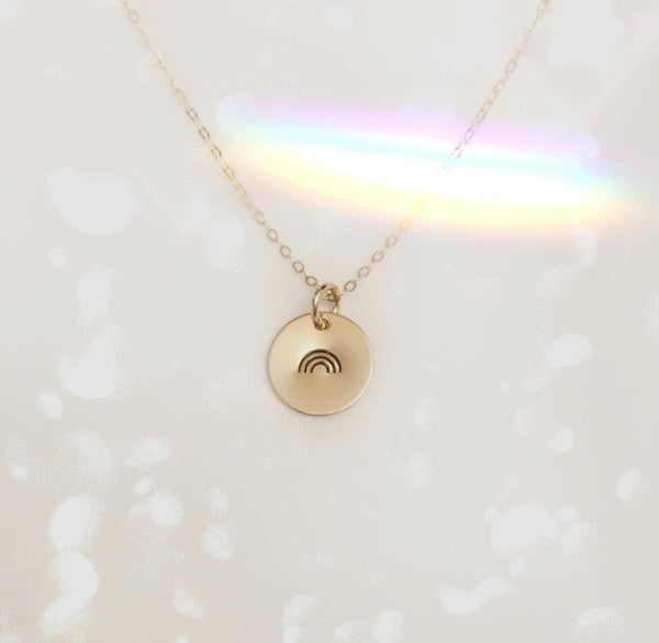Rainbow Disk Necklace - Hand to Heart Jewelry