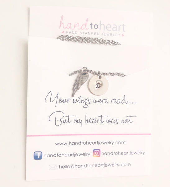Pet Memorial Necklace - Hand to Heart Jewelry
