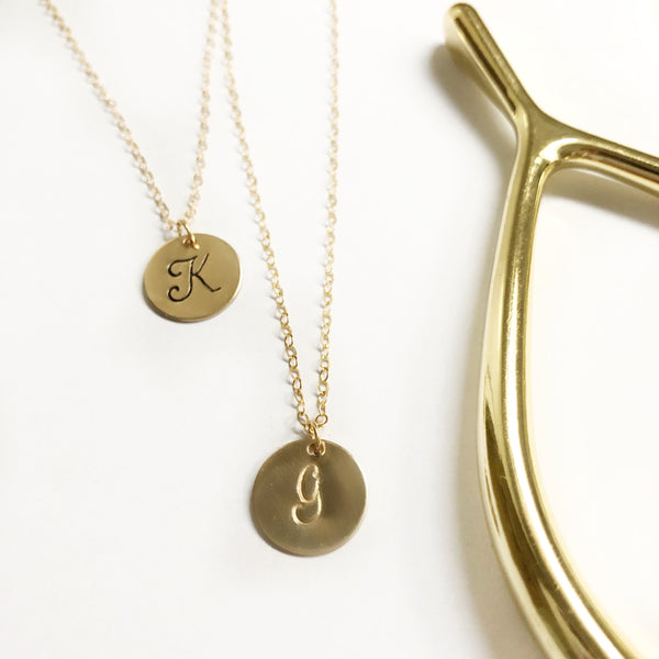 Everyday Disk Necklace - 14K Filled Gold - Hand to Heart Jewelry