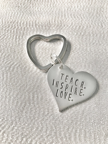 Teaching is a Work of Heart Keychain - Hand to Heart Jewelry