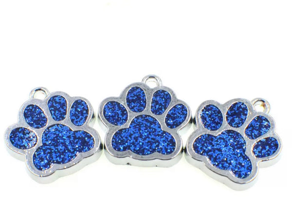 Pet Collar ID Tag - Small Rhinestone Paw - Hand to Heart Jewelry