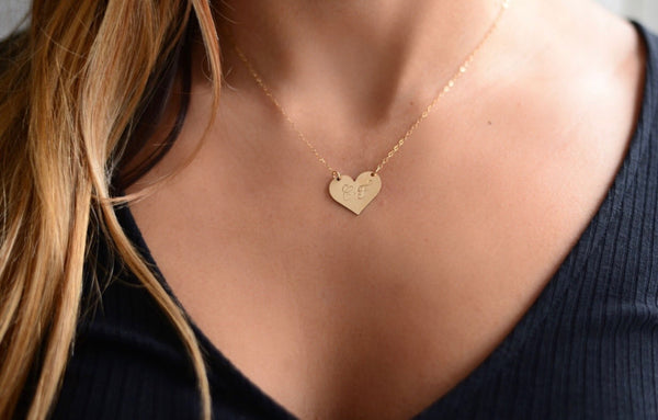 Large Heart Necklace - Hand to Heart Jewelry