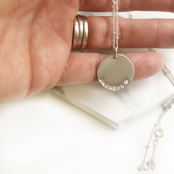 Long Large Disk Necklace - Hand to Heart Jewelry