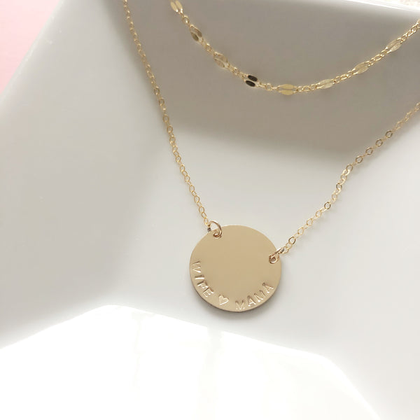 Large Disk Necklace - Hand to Heart Jewelry