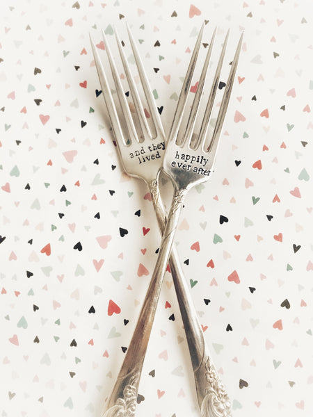 Wedding Forks - Antique Fork - Hand Stamped Fork Keepsake -Wedding Gift - Hand to Heart Jewelry