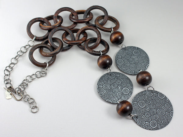Circles and Wood Necklace