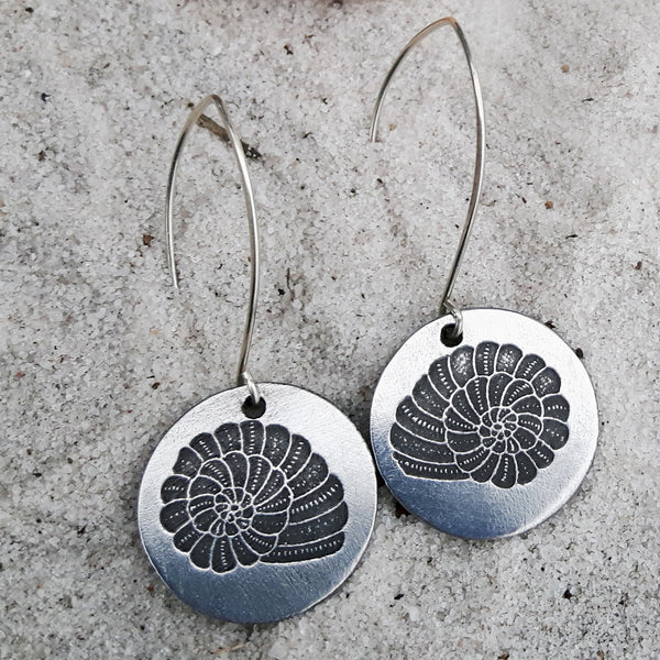 Etched Shell Dangle Earrings