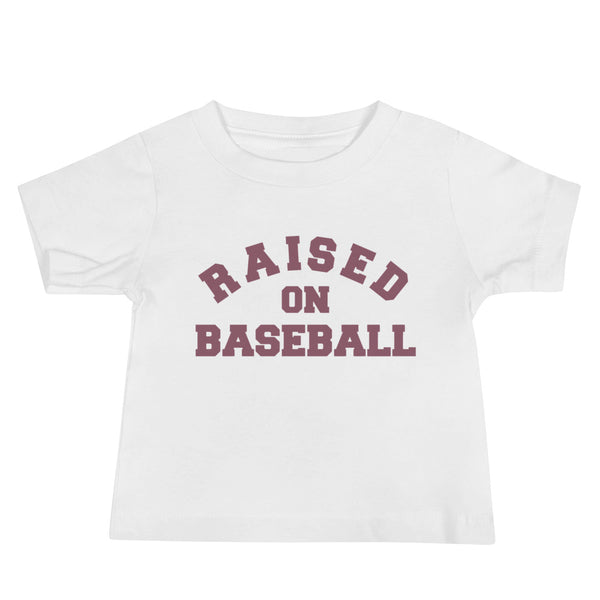 Raised on Baseball Baby Tee [Pink]