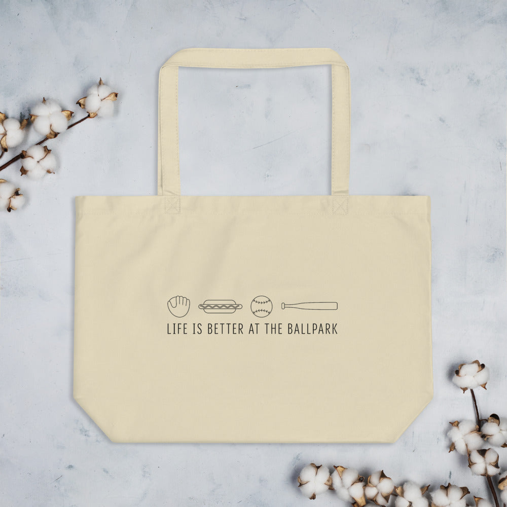Life is Better at the Ballpark | Large Tote Bag