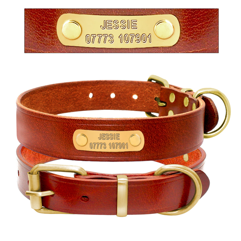 Personalized Brown Leather Collar