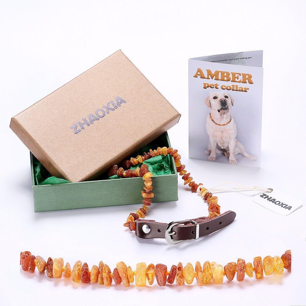 Raw Baltic Amber Flea &Tick Collar with Leather Strap - Canine Love Co.