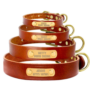 Personalized Brown Leather Collar - Canine Love Co.