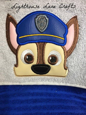 Cop Pup Hooded Towel